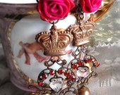 Lilygrace Royal Rose Earrings with Crowns, Vintage Pearls and  Vintage Rhinestones
