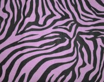 Flannel Fabric, Black and Purple Zebra Print, 1 Yard, more yardage available
