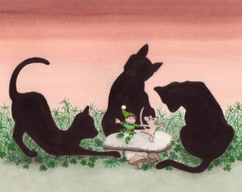 Dancing leprechauns surrounded by black cats / Lynch signed folk art print