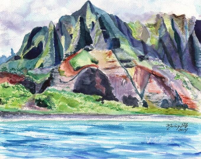 Kauai Na Pali Coast - Landscape Giclee print 8x10 - Hawaiian Landscape Painting - Kauai Mountain Art - Hawaiian Art -  Hawaii Prints