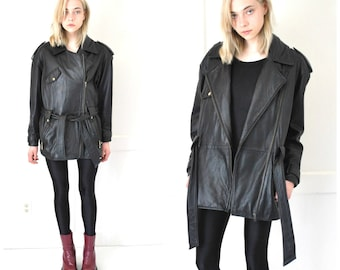 long leather MOTO jacket vintage 1980s 80s black DANIER genuine leather long RELAXED fit coat small medium os