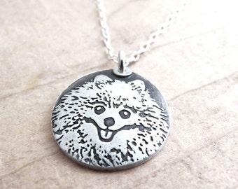Pomeranian necklace, silver Pom jewelry, remembrance jewelry, memorial necklace, dog necklace