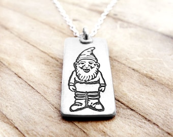 Little garden gnome necklace #2, silver gnome jewelry, forest gnome necklace