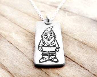 Little garden gnome necklace, silver gnome jewelry, forest gnome necklace