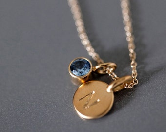 14k Gold Vermeil Tiny Initial and Birthstone Necklace - Gemstone Initial Pendant - Custom Birthstone Personalized Gift