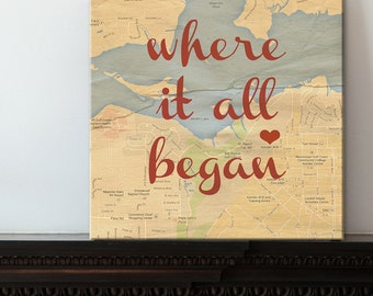 Newlywed Gift - Romantic Map with Quote Art Customized with Places and Names  Custom Canvas Art Gift for spouse