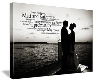 Newlywed Gift First Dance Lyrics/ Custom Canvas / Your Wedding Photo with your Lyrics/ Vows/ Love Story