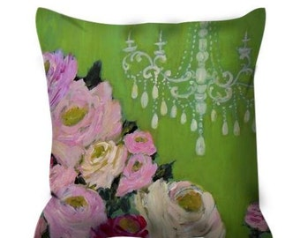 Shabby Chic Pink and Green Chandelier and Roses ~Decorative throw pillow ~ Shabby Chic Decor ~ Romantic Decor ~ Bedroom Decor Pillow