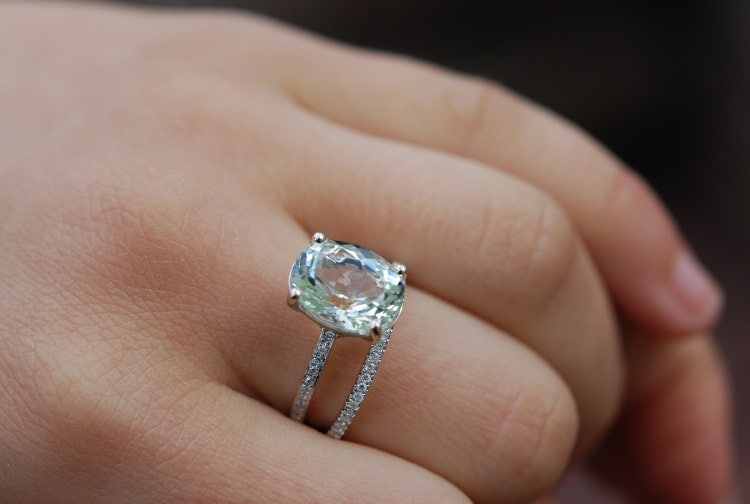 Blake Lively Ring Aquamarine Engagement Ring Oval By
