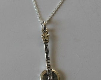 Sterling Silver BANJO Pendant  and Chain - Insrument, Music, Musician