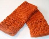 Spiced Pumpkin Fingerless Gloves - Original Arrow Stitch Design - READY TO SHIP