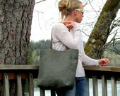 Large LINEN Tote // Pocketed Front Linen Tote Bag // Linen Tote with Leather Straps