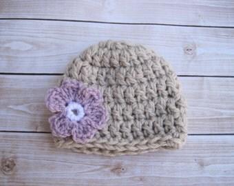 Crochet Baby Girl Beanie with Flower, Newborn Baby Girl Hat, Baby Shower Gift, Infant Cap, Purple