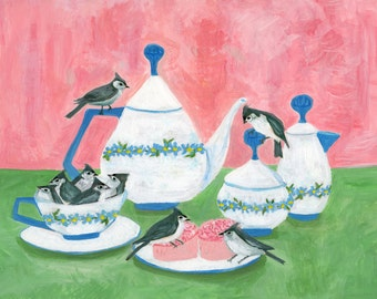 Tea time with titmice.  Limited edition print by Vivienne Strauss.