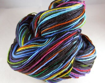 Fractured Rainbow Self-Striping Glitter Merino Sock Yarn
