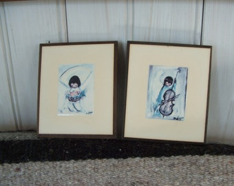 Angel Music and Flower Boy ~~~  Pair of Ted DeGrazia Laminated Wall Plaques