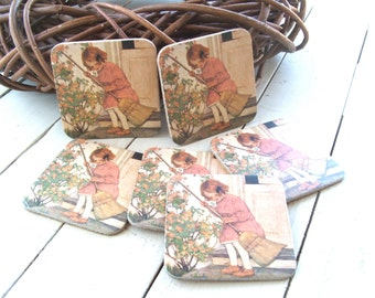 Set of Six Paper and Cork Coasters Girl with Broom