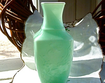 Vintage Spring Dynasty Mint Celadon Green Avon Collectible Vase Fragranced