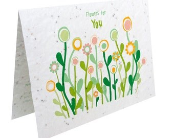 Seeded paper greeting card - Flowers for You