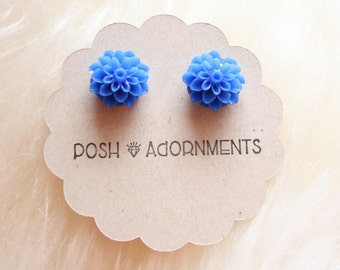 Bohemian Blue Floral Stud Earrings