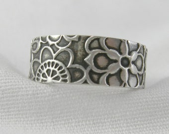 MADE TO ORDER Flower Power Band Super Happy Funtime Sterling Ring Artisan Jewelry