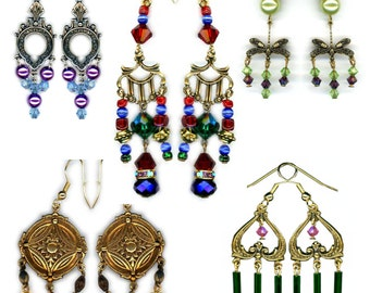 Earrings Chandelier ~ Medieval ~ Prom ~ Birthday ~ Crystals ~ Pearls ~ VTG Findings ~Dragonfly ~ Gothic ~ Rennaissance