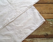 Antique Hand Embroidered White Heirloom Pillowcase Set