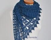 Lace crochet shawl, stole, Alpaca shawl, Navy blue shawl,  N313