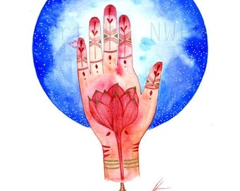 Sacred hand with lotus flower and moon. Art print. Illustration