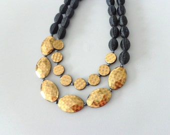 Black gold statement necklace double strand