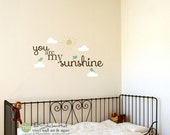You Are My Sunshine - Clouds Sun Birds - Typography Word Art - Vinyl Sticker - Inspirational Quote - Stickers Decals 1731