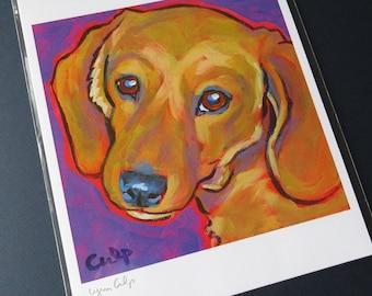 Tan DACHSHUND Dog 8x10 Signed Art Print from Painting by Lynn Culp