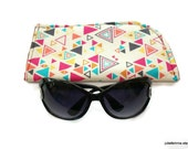 Slide in  Sunglass Case Triangles Wildly Colorful on Cream