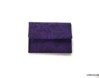 Purple Rose on Black or Ditzy Floral Mini Pocket Jewelry Pouch