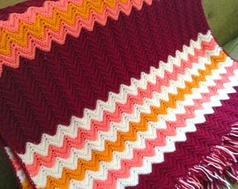 SALE Vintage Crocheted Zig Zag Chevron Afghan Blanket Throw with Fringe, Handmade Cottage Chic Decor Bedding