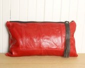 Large Red Leather Clutch Bag Red Hot Purse with Leather Fringe Handbag