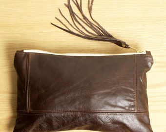 Small Brown Leather Clutch Bag with Leather Fringe Handbag
