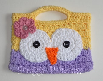 Owl Purse Yellow and Purple READY TO SHIP Hand Crocheted Toddler Bag Tote