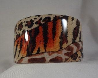 Safari Wide Cuff Bracelet, Resin, Fabric, Accessory (CCB121)