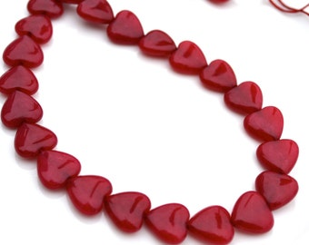 Dyed Red Jade Heart Beads   10