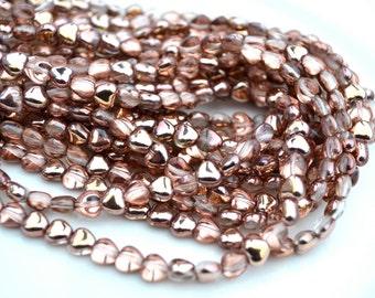 Apollo Gold 6mm Heart Czech Glass Beads  50