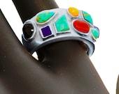 RESERVED FOR ESTRELLA  - Handsome Sterling Silver & Gemstone Ring