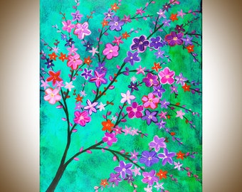 """Acrylic painting Giclee print Fine art Pink Flower Wall decor wall art decorative art """"Beauty and Fascination"""" by QIQIGallery gift ideas"""