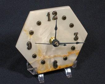 CL-10   Marbled Onyx Clock Home Decor Hexagon Yellow Onyx Desktop Clock