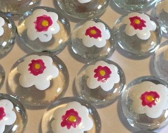 Hand painted Glass Gems party favors mini art  flowers  magnolia  flowers
