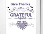 Give Thanks, Gift, God Inspired, Hearts, Religious Gift, Bible Art, Christian Wall Art, Digital Art, Home, Jesus, Faith, Friendship, love