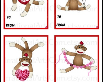 Sock Monkey set 1 Valentines Day Cards - for kids classroom exchange DIY Printing Jpg & Pdf[Instant Download]