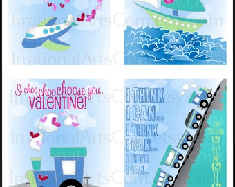 Valentines Day Cards Love Transportation set 1 for kids class exchange DiY Printing train airplane boat Jpg & Pdf {Instant Download}
