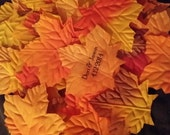 Burnt Orange Shades of Fall Personalized  Silk Leaves -- Wedding & Special Occasion Decoration Or Favor