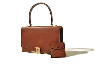 Authentic Hermes Bag Vintage 1960s Cognac Leather Handbag Purse